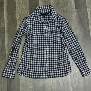 BANANA REPUBLIC BLACK AND WHITE GINGHAM BUTTON UP